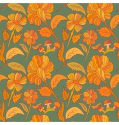 Seamless botanic printed pattern vector