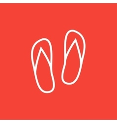 Beach slipper line icon vector