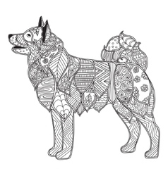 Dog adult antistress or children coloring page vector