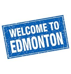 Edmonton blue square grunge welcome to stamp vector