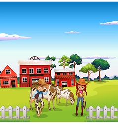 A cowboy and a cowgirl at the farm vector image vector image