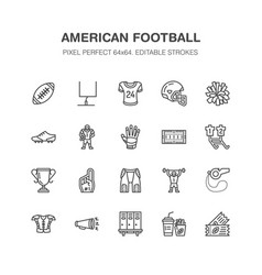 American football rugby flat line icons vector