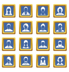 avatars set icons set blue vector image