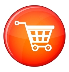 Basket on wheels icon flat style vector