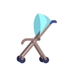 Blue baby carriage isolated on white perambulator vector