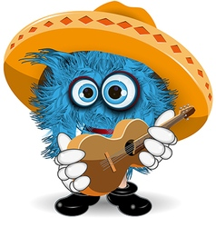 Blue monster in sombrero vector