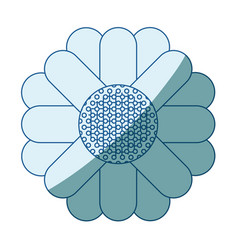 Blue shading silhouette of abstract sunflower in vector