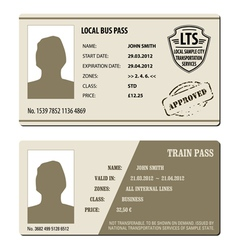 Bus and train pass set vector image vector image