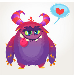 cartoon violet cool monster in love vector image