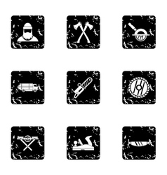 Cleaver icons set grunge style vector