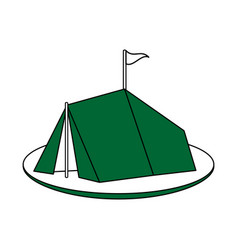 Color silhouette image green camping tent in grass vector