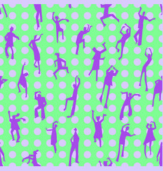 Dancing people semless pattern people figures in vector