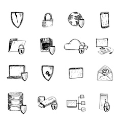 Data protection sketch icons vector image vector image
