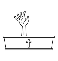 Dead man hand coming out of his grave icon vector