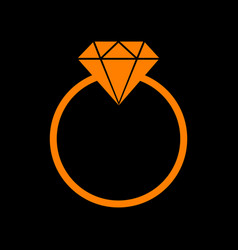 diamond sign orange icon on black vector image