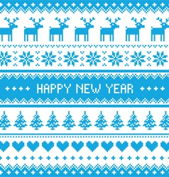 Happy New Year - Nordic winter blue pattern vector image vector image