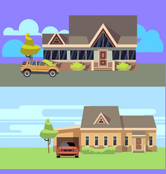 horizontal banners set with houses with vector image vector image