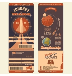 Journey to mars boarding pass vector