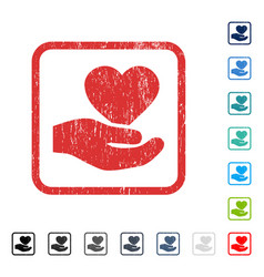 Love heart offer hand icon rubber watermark vector