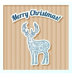 Merry Christmas card on cardboard with deer vector image