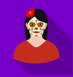 Mexican woman with calavera make up icon in flat vector