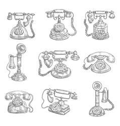 Old retro phones pencil sketch icons vector
