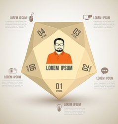 Polygon with icons number options vector
