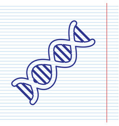 The dna sign navy line icon on notebook vector
