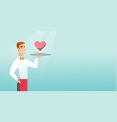 waiter carrying a tray with a heart vector image vector image