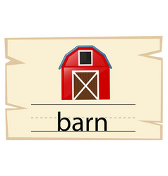 wordcard design for word barn vector image