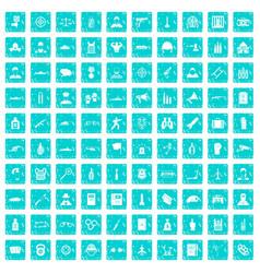 100 officer icons set grunge blue vector