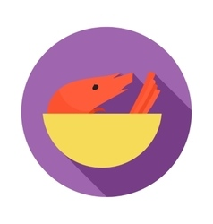 Shrimp in yellow bowl icon flat style vector