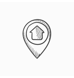 Pointer with house inside sketch icon vector image
