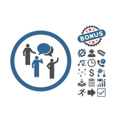 Forum persons flat icon with bonus vector