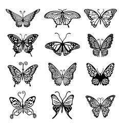Black-white butterfly logo set vector