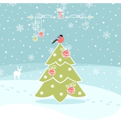 Winter background with christmas tree vector