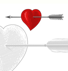 Vintage Heart with Arrow in engraving style vector image