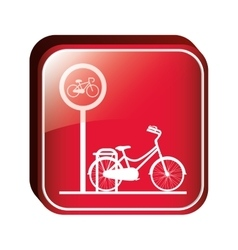 Square button bicycle parking area vector