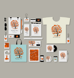 Corporate flat mock-up template foxy tree design vector