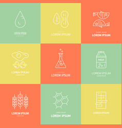 Food allergens icons vector