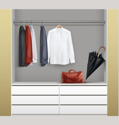 Open white wardrobe vector