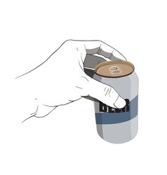 Hand holding beer can vector