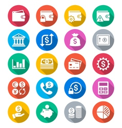 Financial management flat color icons vector
