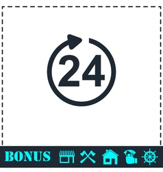 24 hours available icon flat vector