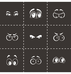 Cartoon eyes icons set vector