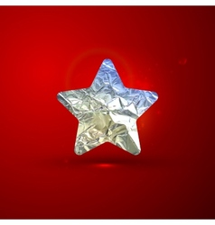Shiny of a silver foil star on red vivid bac vector