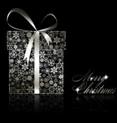 silver Christmas gift box vector image