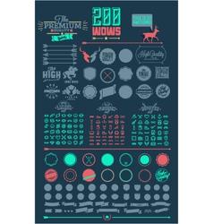 200 line icons emblems elements vector