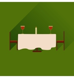 Flat web icon with long shadow romantic dinner vector