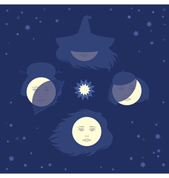 Moon phases as four woman faces vector